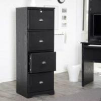 Buy cheap Hawthorne 4 Drawer Solid Wooden Black Vertical Filing Cabinets from wholesalers