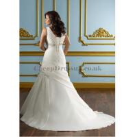Buy cheap Satin Wrap Beading Ruched Plus Size Wedding Dress from wholesalers