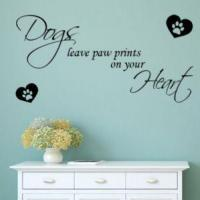 China Dogs Leave Paw Prints on Your Heart ~ Wall sticker / decals on sale
