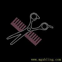 Buy cheap Iron On Hot Fix Transfer Rhinestone Scissor and comb for tee shirts from wholesalers