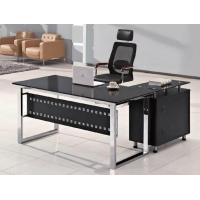 Buy cheap High quality tempered glass executive office desk with side table HX-GL019 from wholesalers