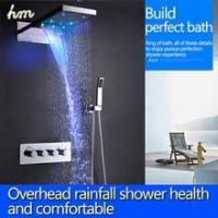 Top led shower set with 22 inch waterfall shower head wall thermostatic valve