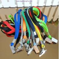 Buy cheap plain tubular lanyard with bulldog clip 1x80cm from wholesalers