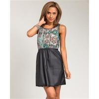 Buy cheap DR-2287-Faux Leather Zip Up Dress from wholesalers