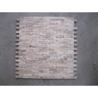 Buy cheap Mixed Dark And Light Color 2x4 Split-Face Travertine Mosaic Tile Split Face Mosaic Backsplash from wholesalers