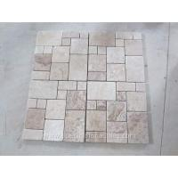 Buy cheap Tumbled Beige White Travertine Tumbled Mosaic Tile Backsplash French Patterns from wholesalers