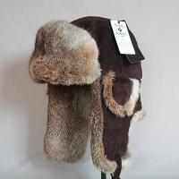 Buy cheap Gloves & Mittens HT-0015 Pigskin Leather Trapper Hat with Brown Rabbit Fur from wholesalers