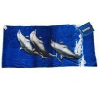 Buy cheap three dolphin 100% cotton velour reactive printed beach towel from wholesalers