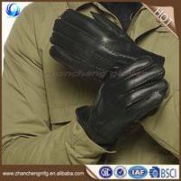 Buy cheap Winter warm mens fur lined leather gloves for touch screen with high quality from wholesalers