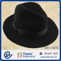 Buy cheap SAT-13273 black wide brim wool felt fedora hat from wholesalers