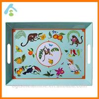 Buy cheap Food Grade Melamine Square Serving Tray With Handles product