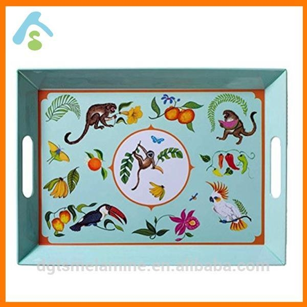 Quality Food Grade Melamine Square Serving Tray With Handles for sale