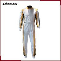 Buy cheap Two layer 100% cottom one piece auto racing suit white golden green C070 from wholesalers