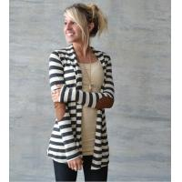 Buy cheap Jacket F2447 Black and White Striped Long Sleeve Cardigan from wholesalers