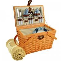 Buy cheap Picnic at Ascot Frisco Traditional American Style Picnic Basket for 2 w/ Blanket -Blue Stripe from wholesalers