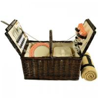 Buy cheap Picnic at Ascot 713B-DO Surrey Willow Picnic Basket with Blanket and Service for 2 - Diamond Orange from wholesalers