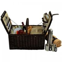 Buy cheap Picnic at Ascot Surrey Picnic Basket for 2 w/Blanket & Coffee, Brown Wicker/Santa Cruz Stripe from wholesalers