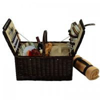 Buy cheap Picnic at Ascot Surrey Picnic Basket for 2 w/Blanket, Brown Wicker/Santa Cruz Stripe from wholesalers