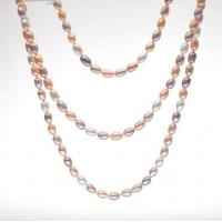 Buy cheap 120cm length 7-8mm multi-color rice shape freshwater pearl necklace from wholesalers