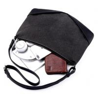 Buy cheap Fashion Leather Men Zipper Shoulder Bag Cowhide Leather Crossbody Bag Black Slim Handbag for Men from wholesalers