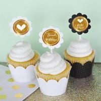 Buy cheap Personalized Metallic Foil Cupcake Wrappers & Cupcake Toppers (Set of 24) - Wedding from wholesalers