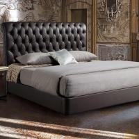 Buy cheap Latest Design Tufted King Size Black Leather Upholstered Bed from wholesalers