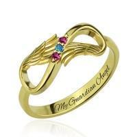 Buy cheap Angel Wings Infinity Ring with Birthstones Gold Plated Silver from wholesalers