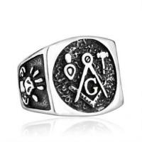Buy cheap Free-Mason Badge Wide Titanium Ring from wholesalers