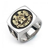 Buy cheap Free-mason Double Head Eagle Titanium Rings For Men from wholesalers