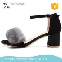 Buy cheap Wholesale Fancy Rabbit Fur Chuck Middle Heel Girl Sandals shoes 2017 from wholesalers