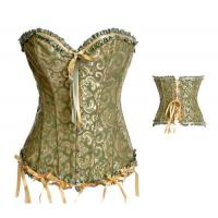 Buy cheap Plus Size Sexy Lace up Satin Boned Corset Clubwear Bridal Lingerie + G-string Green 819 from wholesalers