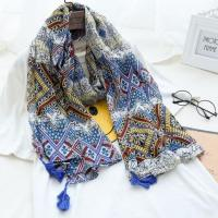 Buy cheap Bohemian Style Multicolor Floral Geometric Printed Scarf with Blue Tassels from wholesalers