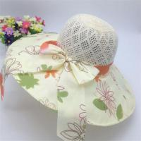 Buy cheap Beautiful Flower Print Overlay Brim Polyester Sun& Beach Hats For Ladies from wholesalers