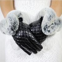 Buy cheap Made in China Low Price Fashion Warm Black Square with Cony Hair Women PU Winter Gloves from wholesalers