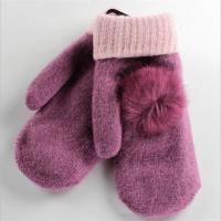 Buy cheap 2017 New Styles Fashion with Pom-Pom Grey Women Woolen Warm Gloves from wholesalers