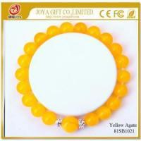 Buy cheap Yellow Agate 8MM Round Beads Gemstone Bracelet from wholesalers