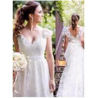 Buy cheap Lace Simple White Cap-sleeves A-line V-neck Bow Wedding DressItem Code: LPL094 from wholesalers