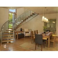 Buy cheap Glass Railing Wood Tread Curved Stairs for Villa from wholesalers