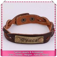 Buy cheap Pu leather cuff bracelet with engraved metal plate, hot sale engraved leather bracelets from wholesalers