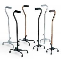 Buy cheap Small Base Adjustable Aluminum Offset Quad Four Legged Walking Cane with Foam Handle Black from wholesalers