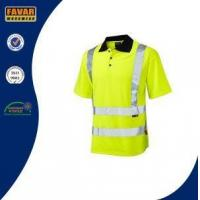 Buy cheap Polycotton Twill White Short Sleeve Button Down Polo Shirts with Reflective Tapes from wholesalers