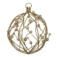 Buy cheap Hanging Decorations Gold Glitter & Bead Wire Ball - 100mm from wholesalers