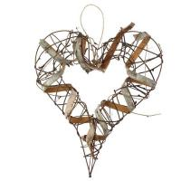Buy cheap Hanging Decorations Hanging Brown Rustic Heart - 20cm 022-19114 3.75 from wholesalers