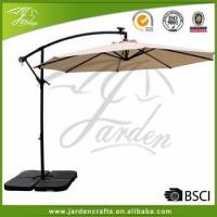 Buy cheap Commercial 10FT Patio Umbrella Hanging LED light Sun Shade Market Umbrella with Base Solar Powdered from wholesalers