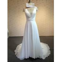 Buy cheap Simple White Long Chiffon Wedding Dresses Deep V-neck Cap Sleeves Floor Length Bridal Gowns from wholesalers