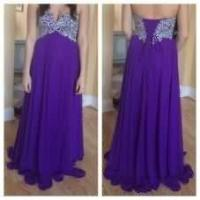 Buy cheap Purple Long Chiffon Women Dresses with Crystals Sweetheart Neck from wholesalers