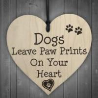 Buy cheap WOODEN HEART - 100mm - Dogs Paw Prints from wholesalers