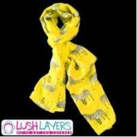 Buy cheap Lush Layers Designer Zebra Print Scarf - Yellow from wholesalers