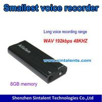 Buy cheap Audio products SQ21,Smallest Voice Recorder, wav format,192kbps 48khz,8G from wholesalers