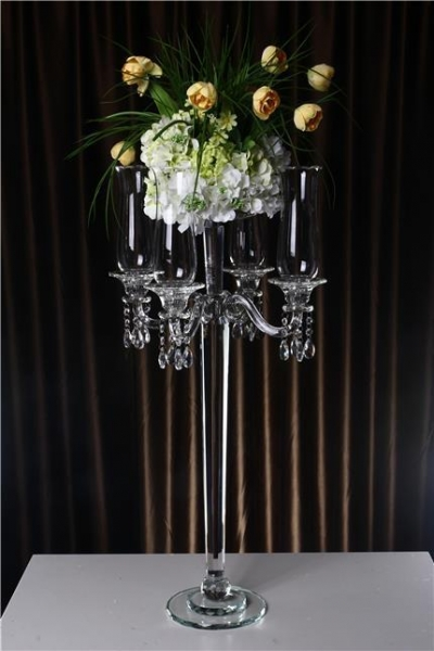 Glass candelabra table centerpiece and wedding
